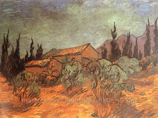 Vincent van Gogh, Wooden Sheds, 1889, oil on canvas, 17.9 x 23.6 in. / 45.5 x 60 cm, US$330