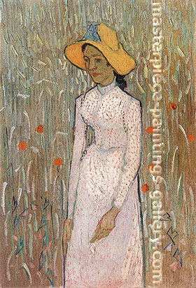 Vincent van Gogh, Young Girl Standing against a Background of Wheat, 1890, oil on canvas, 26 x 17.7 in. / 66 x 45 cm, US$370
