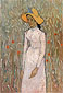 Vincent van Gogh, Young Girl Standing against a Background of Wheat, 1890, Oil on canvas, 26 x 17.7 in / 66 x 45 cm, $US270