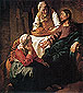 Christ in the house of mary and martha, 1654-1655, oil on canvas, 32 x 28.4 in / 81.3 x 72.1 cm, US$300