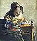 Jan Vermeer, The Lacemaker, 1665, oil on canvas, 23.6 x 20.7 in. / 60 x 52.5 cm, US$280
