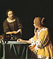 Jan Vermeer, Servant Handing a Letter to Her Mistress | Lady with Her Maidservant, 1667-1668, oil on canvas, 35.2 x 30.7 in. / 89.5 x 78.1 cm, US$340