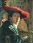 Jan Vermeer, Girl in a Red Hat, oil on canvas, 9.1 x 7 in. / 23.2 x 18 cm, US$230