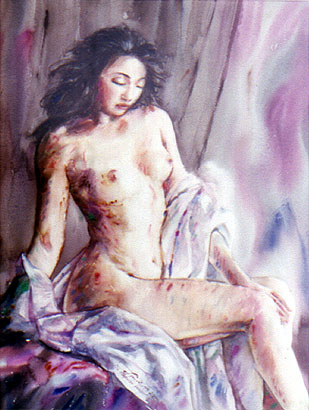"Painted Nude Woman (#24/44) by M. L. Jaroonsak Kamolas, watercolor on paper, 21.251"" x 17.32"" / 54 x 71 cm, US$595"