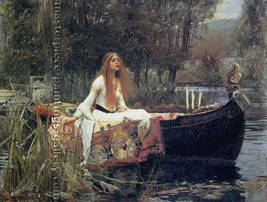 John William Waterhouse, The Lady of Shallot, 1888, oil on canvas, oil on canvas, 36.1 x 47.2 in. / 91.8 x 120 cm, US$690